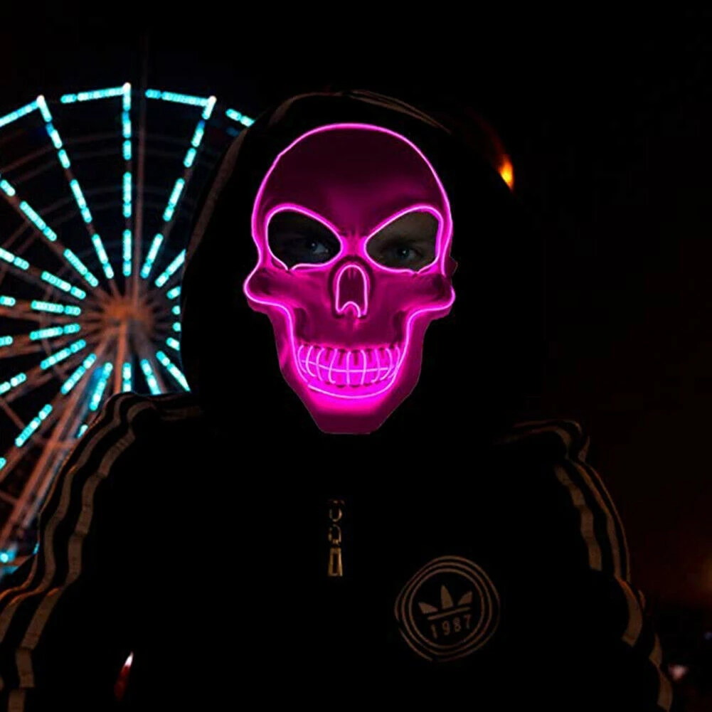 Arosetop  Scary Death Skull Mask LED Light Up for Halloween Festival Cosplay