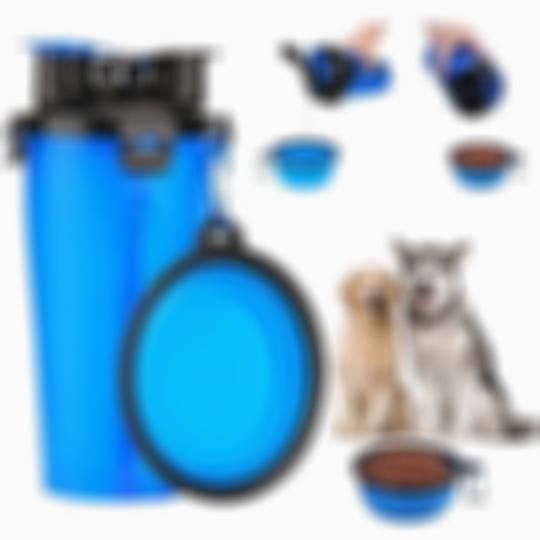 New 2-In-1 Pet Travel Water & Food Bottle with Foldable Bowls Bottle