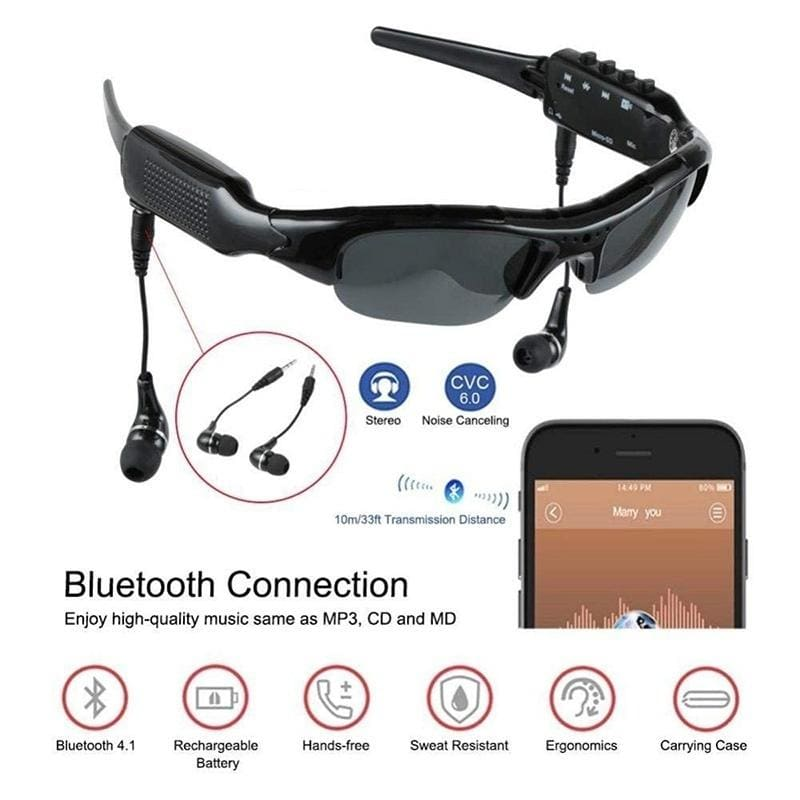 Bluetooth Sunglasses Wearable Mobile Digital MP3 Glasses 1080P Camera Glasses Mini DV Video Recorder Eyewear Bluetooth Headphones Handsfree Driving Glasses Sport Outdoor Cycling Sunglasses with Interchangeable Night Vision Lenses [16GB Optional Buy]