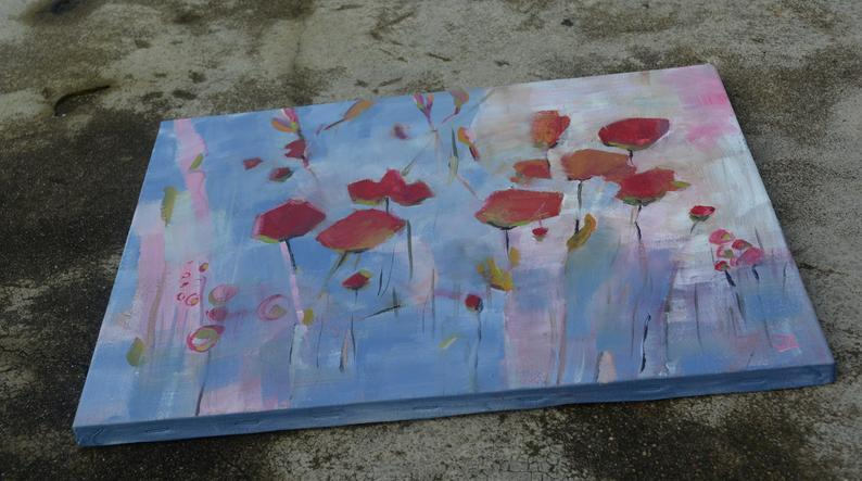 Acrylic Abstract Painting, Floral acrylic painting, Abstract Flower painting, Abstract painting original,  Abstract wall art