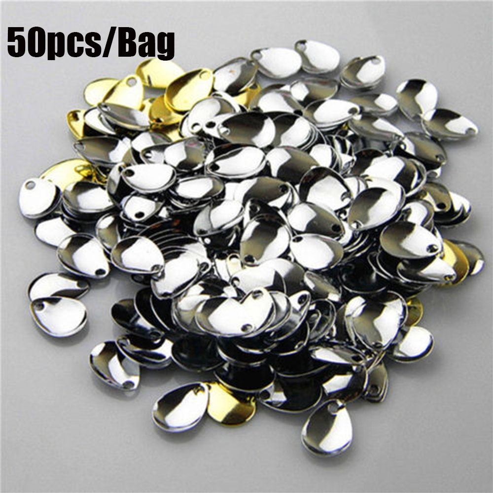 50pcs Spinner Tackle Rotate Sequin Vibration Blades Fishing Attractor Spinner Spoon Metal VIB Lure
