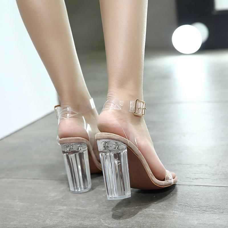 Transparent Crystal Chunky Heel Suede Beige Women Sandals