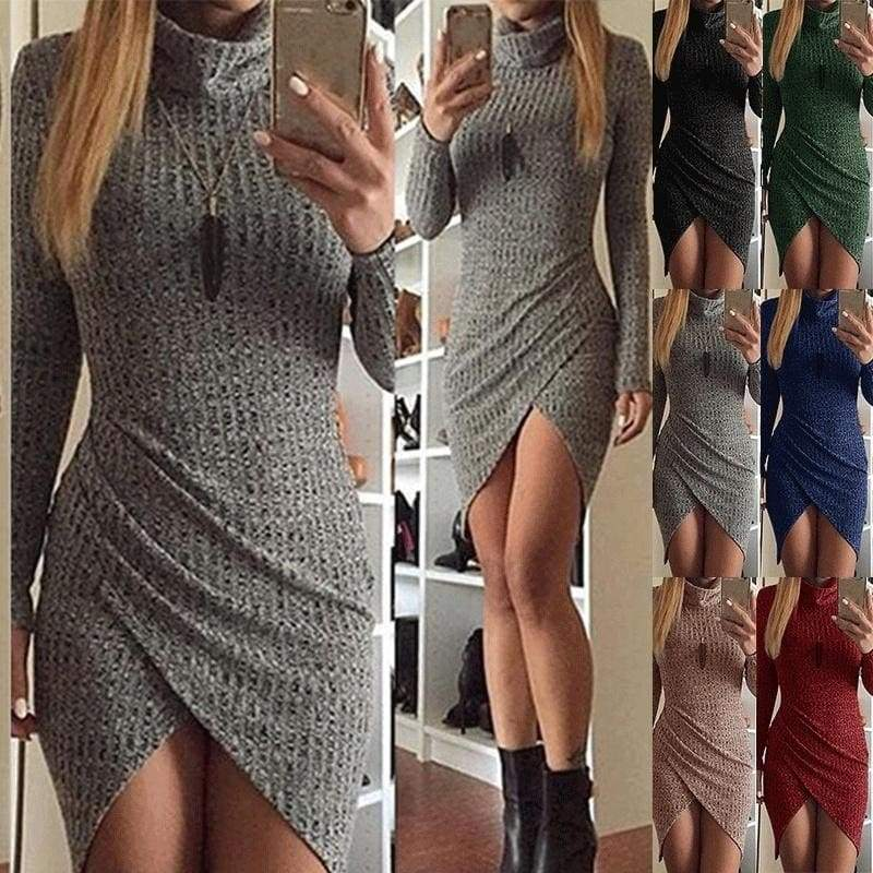 Autumn Fashion Women Knitted Long Sleeve Sweater Office Bodycon Sexy Club Party Dress