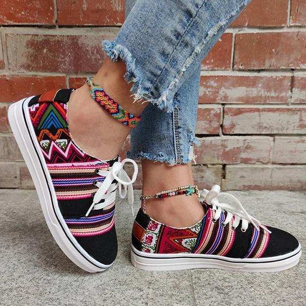 Lemmikshoes Women'S Ethnic Style Lace-Up Skate Shoes Large Size Sneakers
