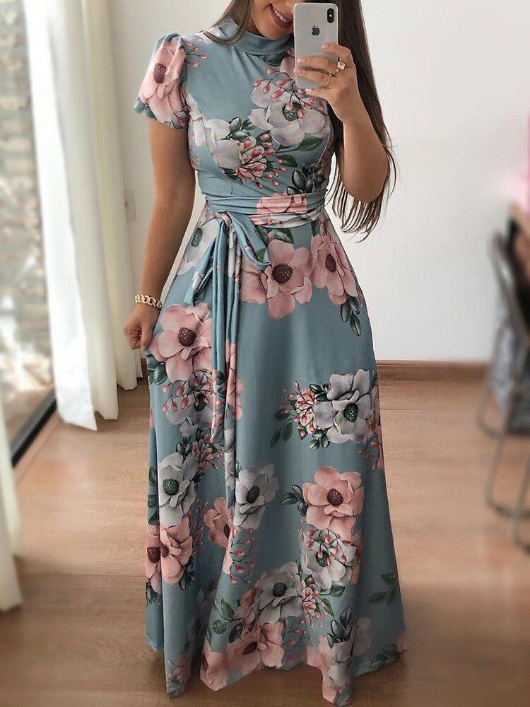 2020 Women Dress Casual Dress Print Frock Designs Womens Dress Blouses