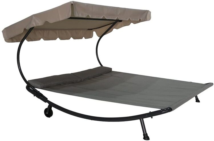 Outdoor Portable Double Chaise Lounge Hammock Bed with Sun Shade and Wheels
