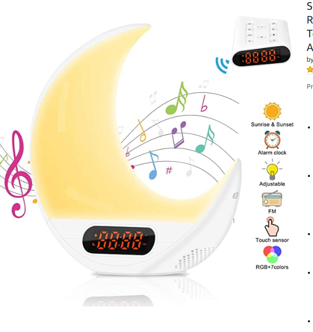 Wake Up Light Alarm Clocks, Remote Control 7 Colors & RGB Sunrise/Sunset Simulation Table Bedside Lamp Eyes Protection with FM Radio, Nature Sounds and Touch Control Function