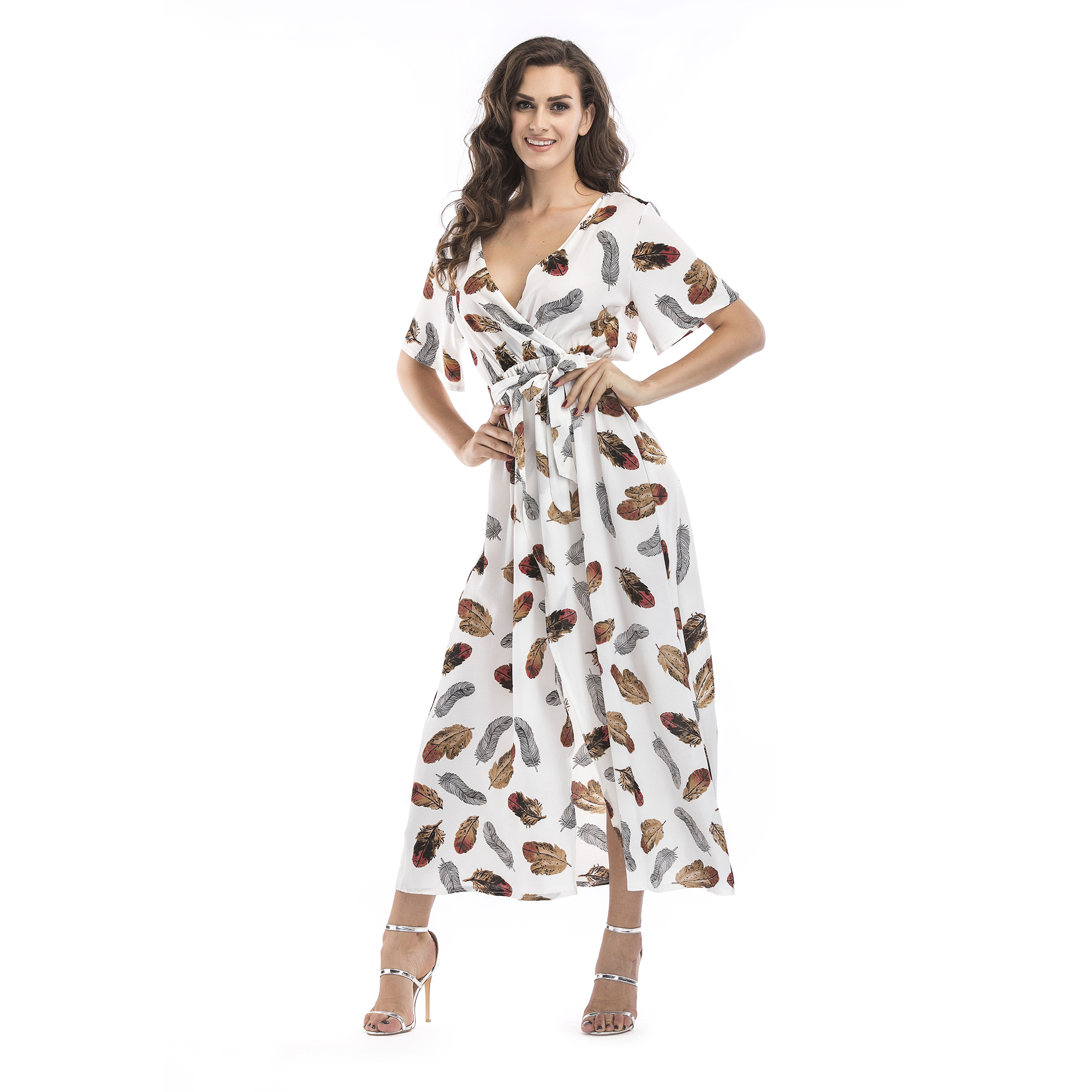Myriadnice™ White Feather Print Long Dress