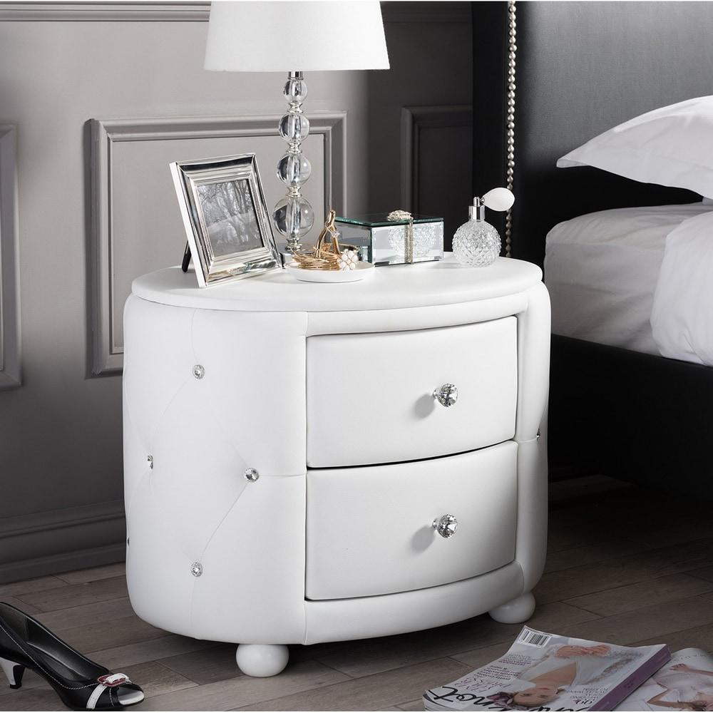 Baxton Studio Davina Hollywood Glamour Style Oval 2-drawer White Faux Leather Upholstered Nightstand