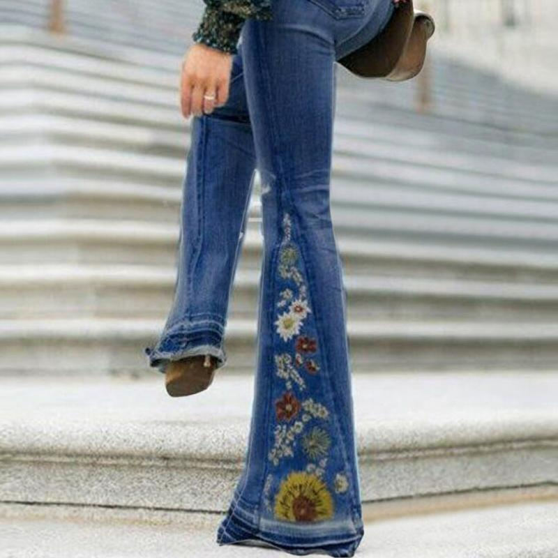 Higomore™ 2021 New Fashion Gradient Flower Printed Jeans Flared Pants