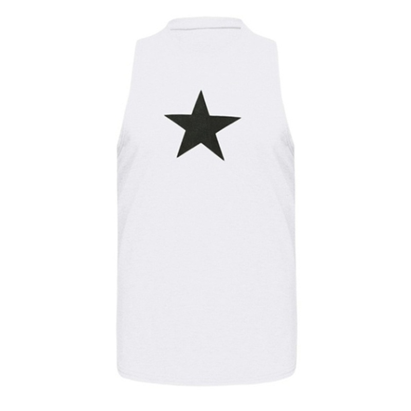 Plus Size S-5XL 3 Color Summer New Fashion Men Sleeveless Star Pattern Print T-shirt O-Neck Solid Color Tank Top Casual Slim Fit Gym Sport Vest for Men Brief Cotton Bodycon Work Pullover Tops Plus Size S-5XL