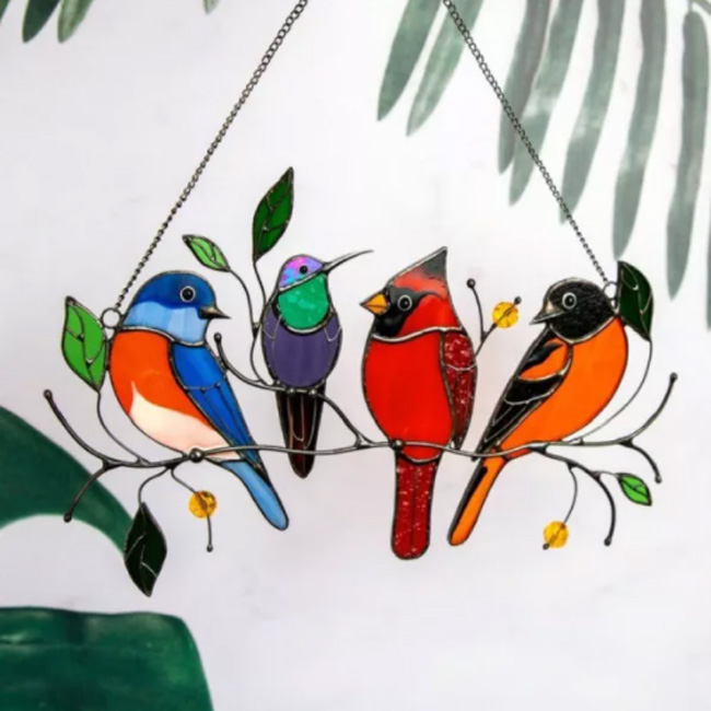 Birds Stained Glass Window Hangings   Mother's Day Gifts