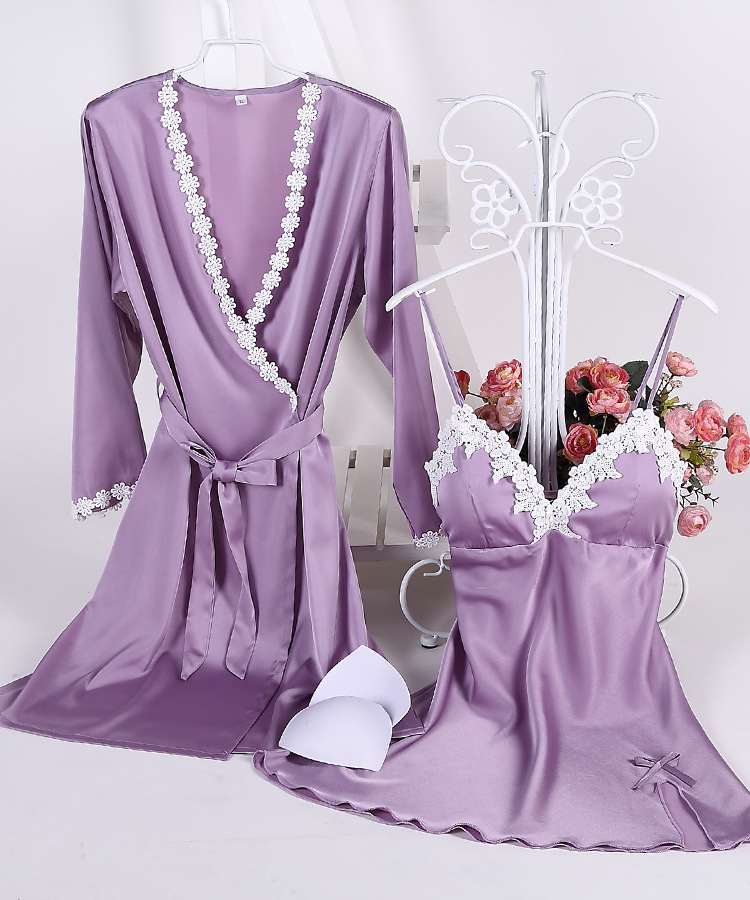 Cotton edging, silk with chest pad, suspender nightdress, nine-quarter sleeves, sexy nightgown, two-piece suit