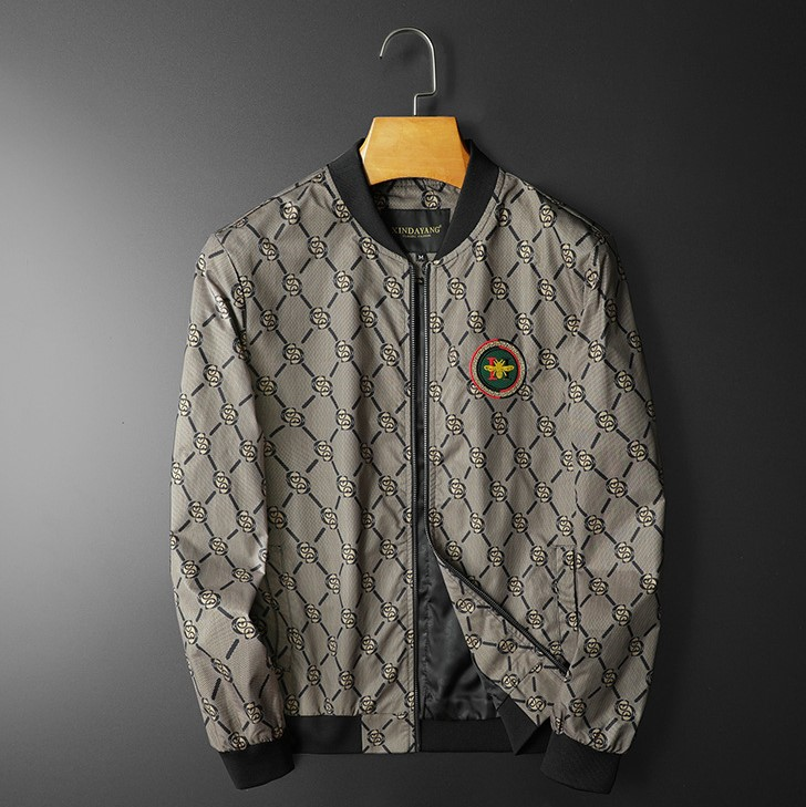 Geometric print embroidered casual jacket
