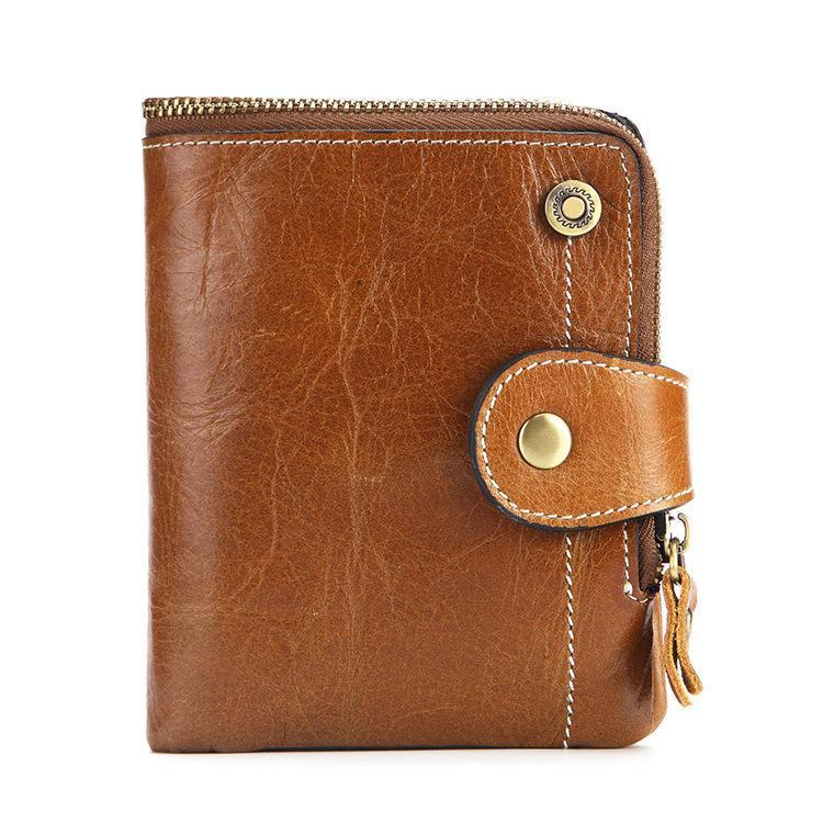 RFID Genuine Leather Short Wallet