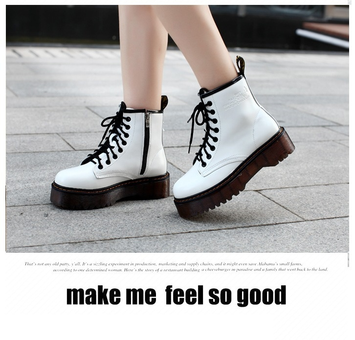 Women Fashion High-grade Patent Leather Autumn Thick-soled Boots Sponge Cake Women Boots Martin Boots Female Punk Short Boots