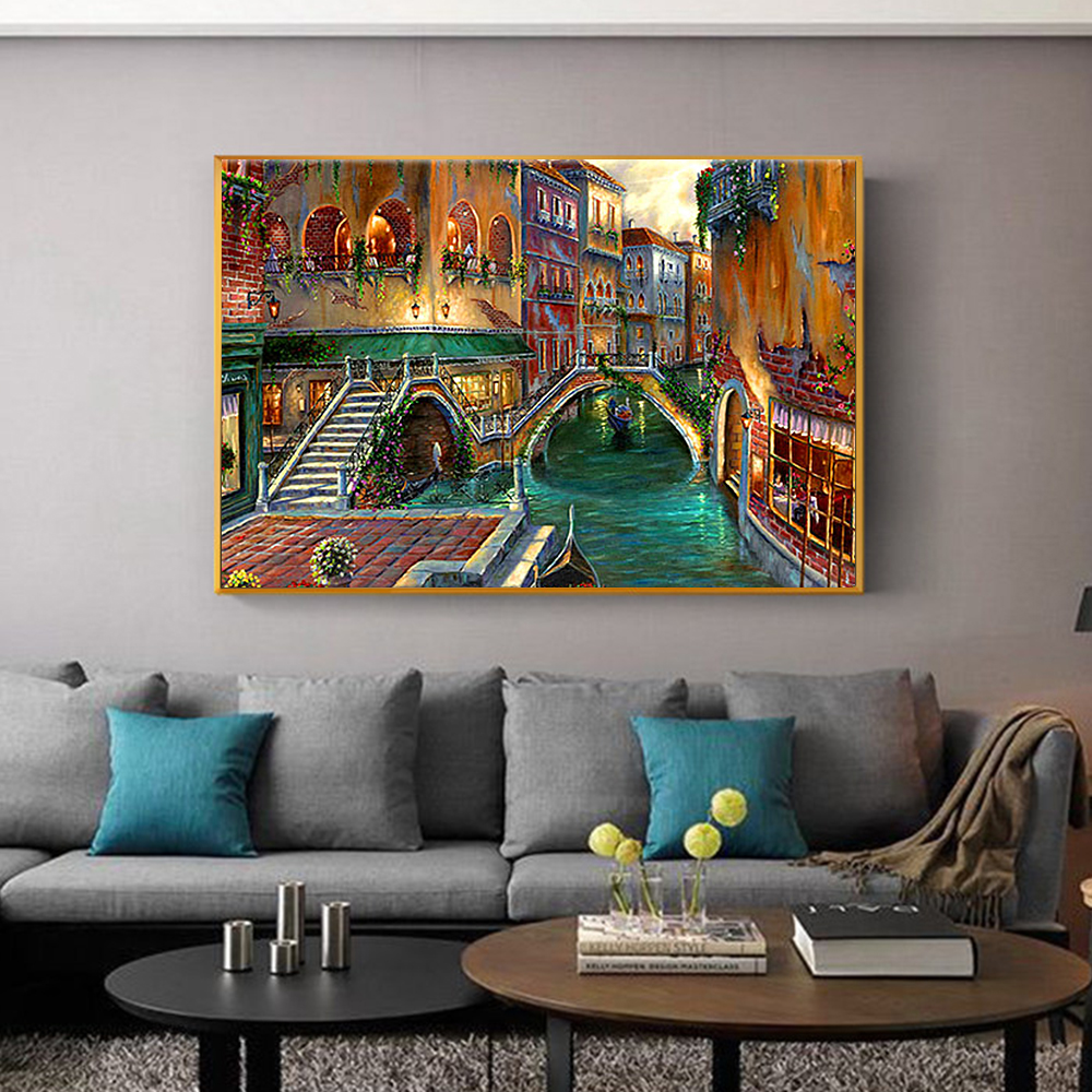 Hand painted urban architecture canvas abstract oil painting art decorative wall oil painting art