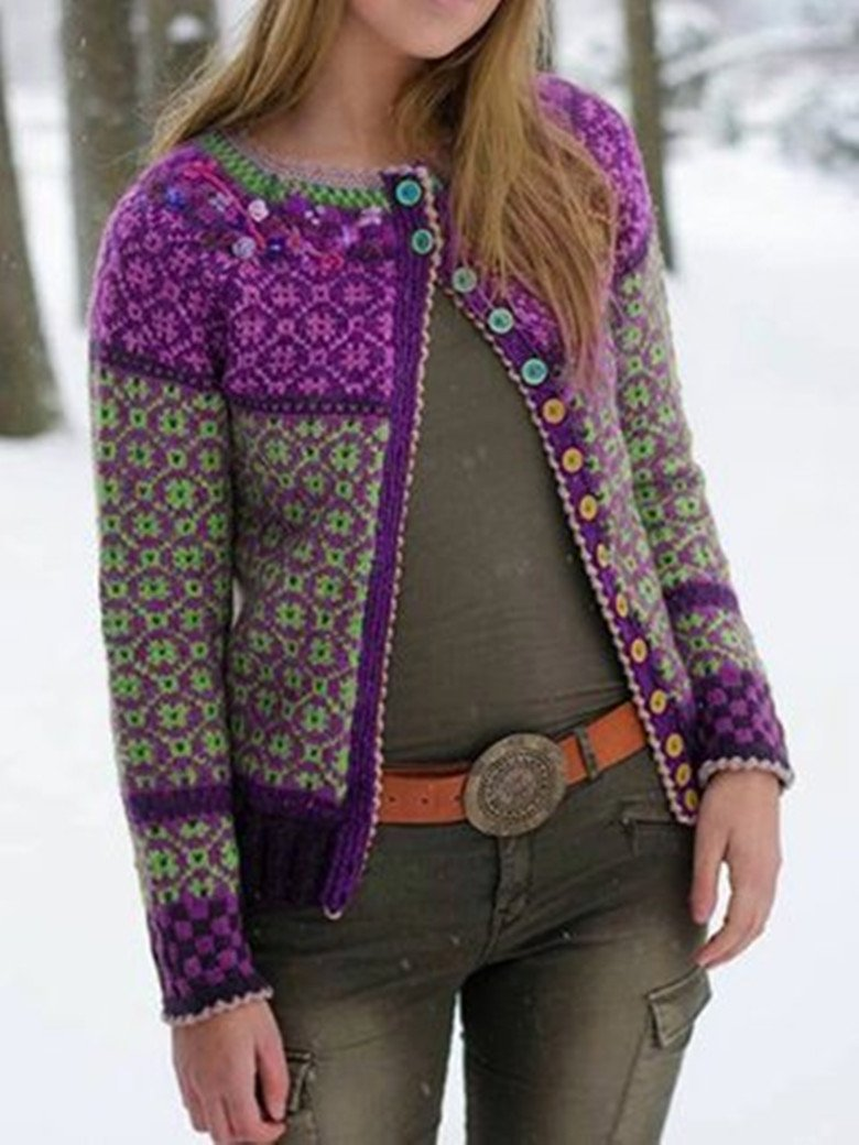 Retro Long-sleeved Cardigan
