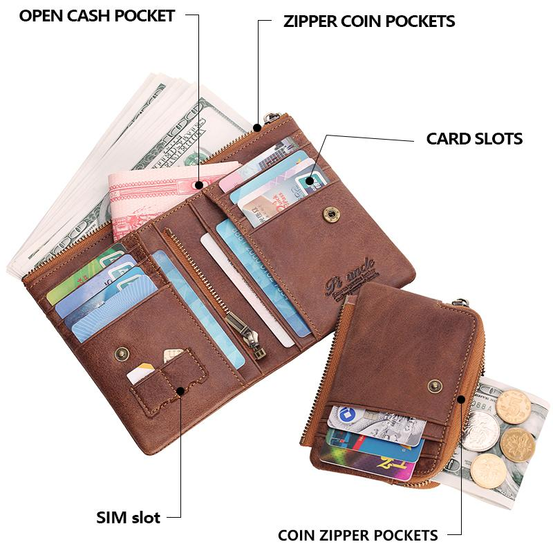 Men RFID Genuine Leather Wallet With Chain