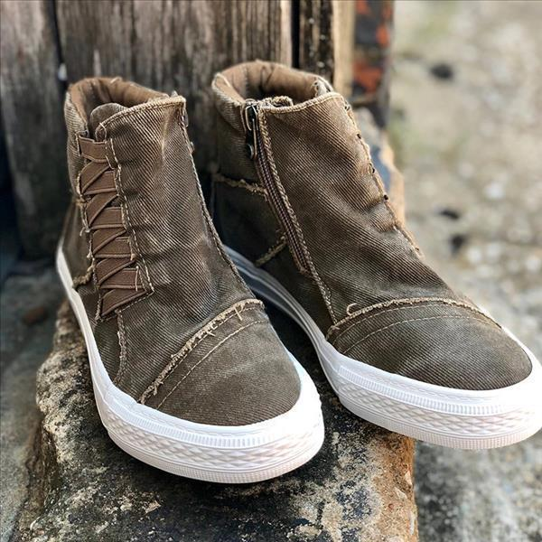 Faddishshoes Casual Daily High Top Stylish Flat Sneakers