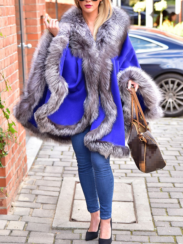 Faux silver fox fur and cashmere poncho coat