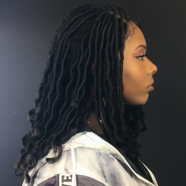 (Hot Sale)Goddess Locs Lace Parting Braided Wig