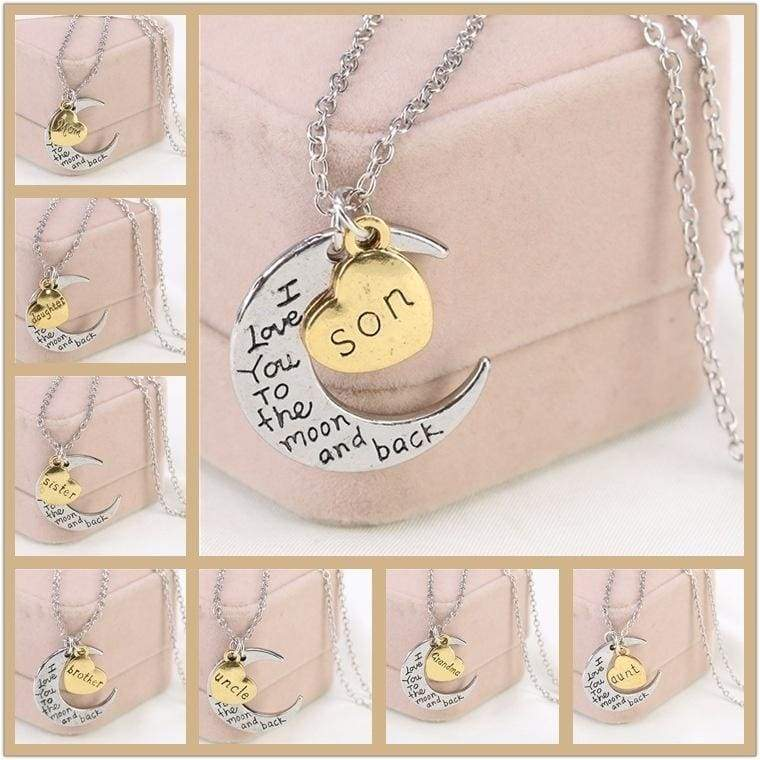 Rose Gold Heart & ( Mom Dad Brother Son aunt Uncle Sister Daughter Grandma Grandpa)Necklaces Silver Xmas Gifts For Her Mum Mother Women (Color: Silver)