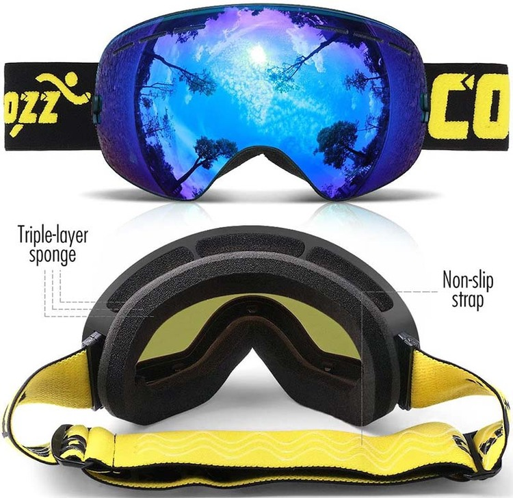 Ski Goggles Anti Fog Snowboard Goggles Double Lenswith 180° Wide View 100% UV400 Protection