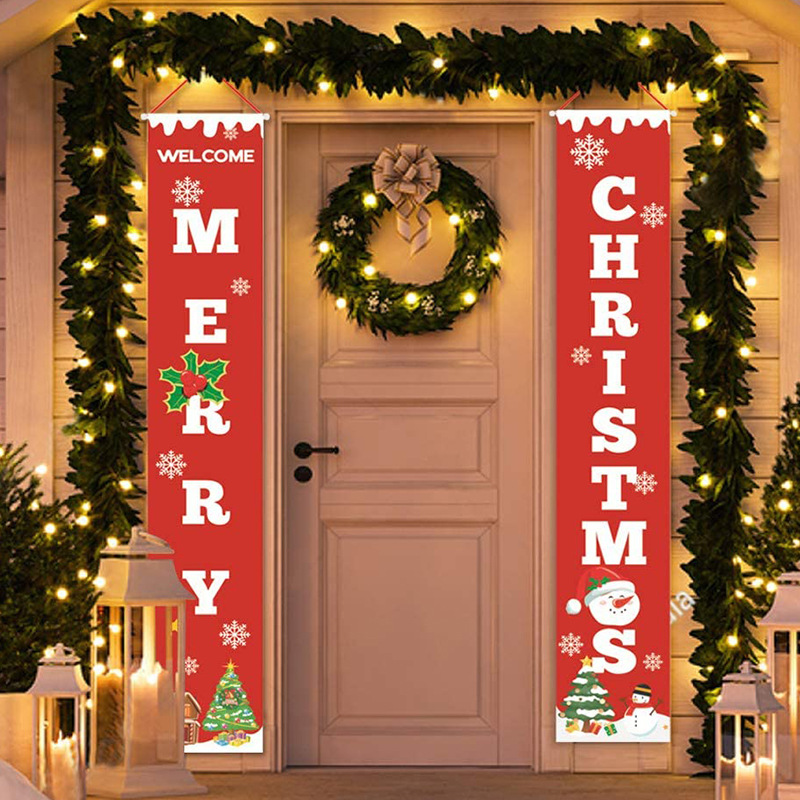 Christmas decorations for home house outdoor hanging cloth Curtain couplet merry holiday decoration party supplies home decor