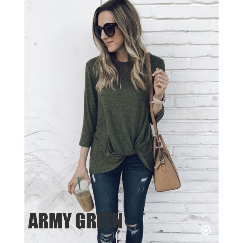 4 Color Women's Fashion Long-sleeved T-shirt Autumn and Winter Solid Color Pullover Casual Blouse O-neck Loose Shirt Top