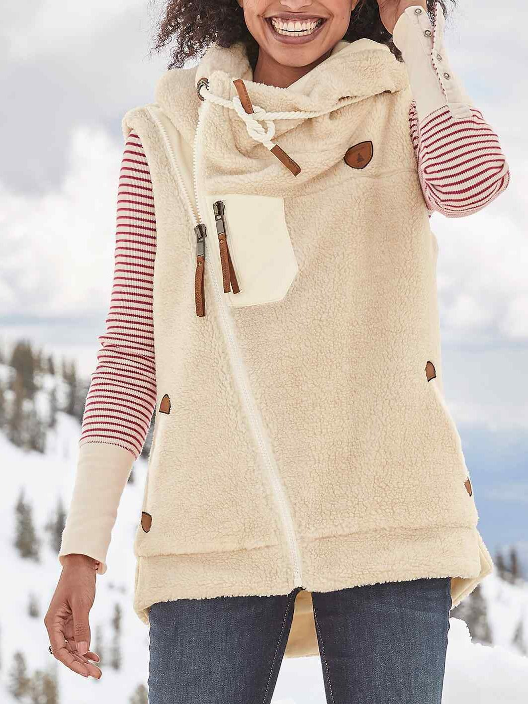 Winter plain keep warm fleece vest coat