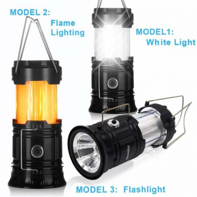 3-in-1 Solar Camping Lantern - Portable Outdoor LED Flame Lantern Flashlight