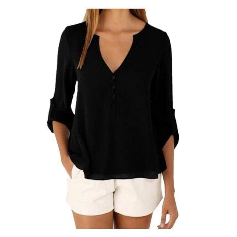 Women's Fashion Chiffon V-neck Button Slim Waist Long Sleeves Shirt Tops Plus Size XS-5XL