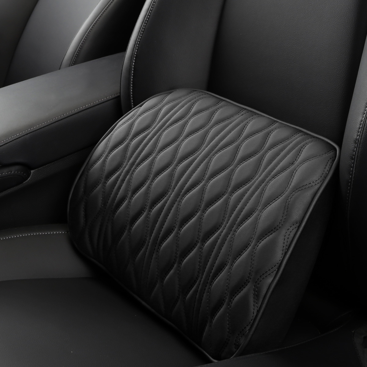 Memory Foam Car Headrest Pillow Leather Embroidered Seat Supports Sets Back Cushion Adjustment Auto Neck Rest Lumbar Pillows