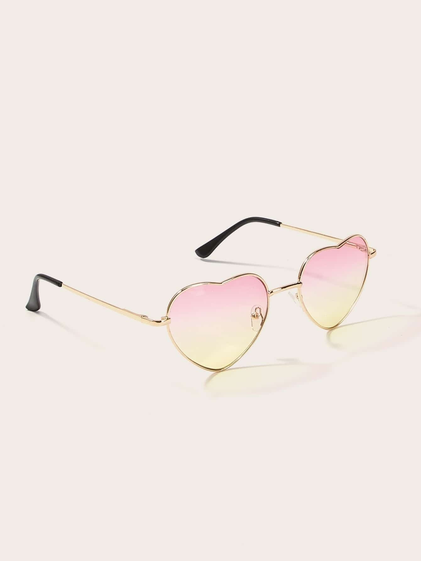 Heart Frame Tinted Lens Sunglasses