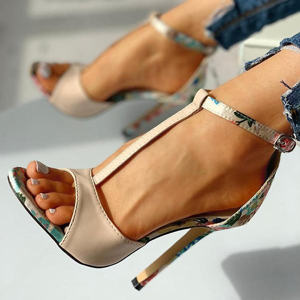 Faddishshoes Contrast Color Floral Splicing Ankle Strap Heels