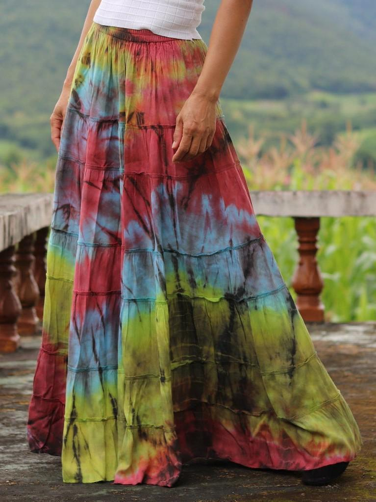 Vintage Tie Dye Solid Casual Drawstring Cotton Skirt
