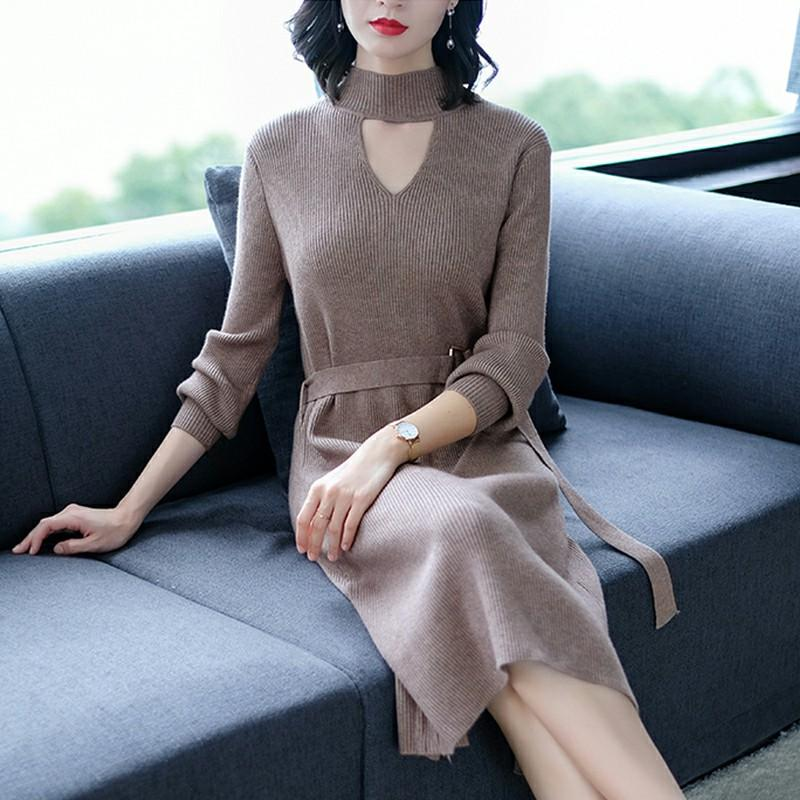 Strapped long-sleeve  dress