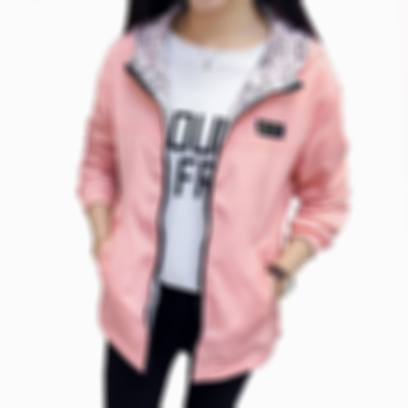 Spring Autumn Fashion women Bomber women Jacket Pocket Zipper Hooded Two Side Wear Outwear Loose Plus Size Windbreaker