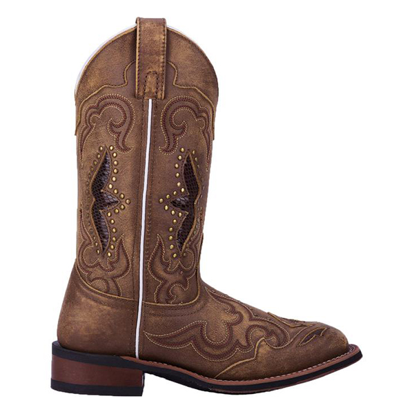 Faddishshoes Ladies Embroidered Hollow Rivet Short Western Boots
