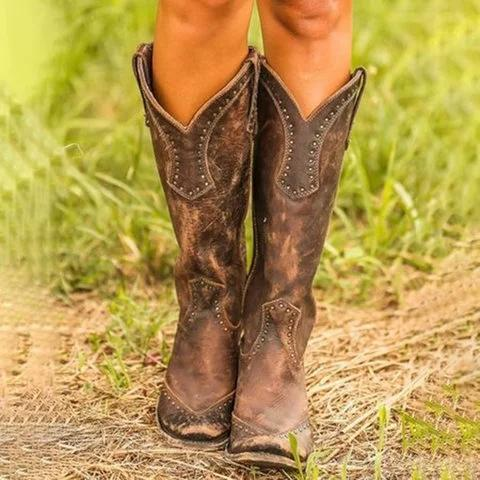 Women cowboy boots retro wedding boots knee high cowgirl boots