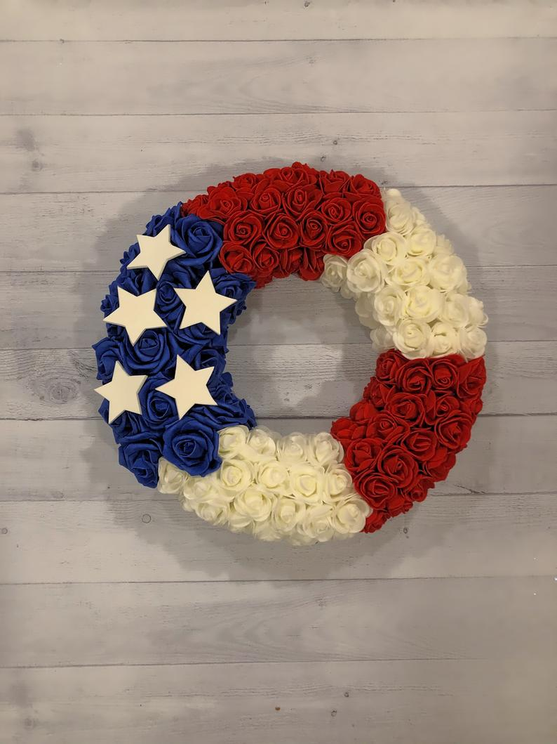 Patriotic Roses Wreath / Red, White and Blue Foam Roses 14