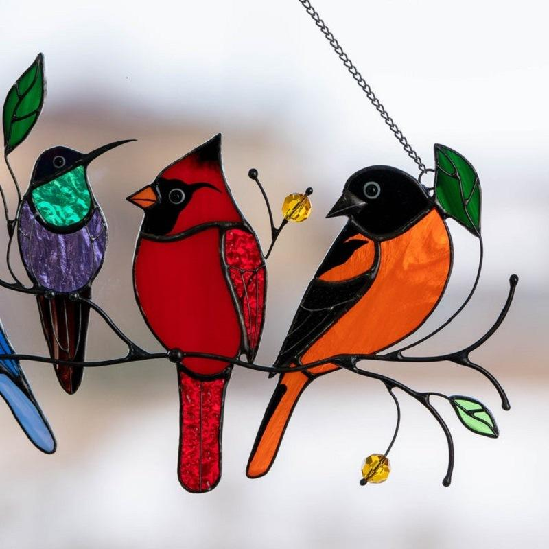 Colored bird high-color glass on the wire, ornament pendant