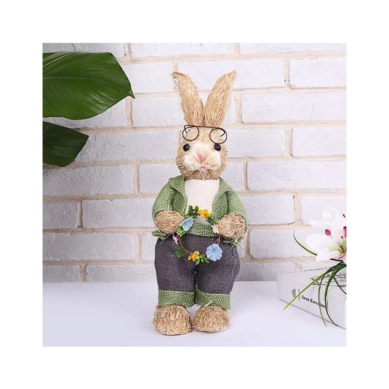 Cute Straw Rabbit Bunny Easter Decorations Holiday Home Garden Wedding Ornament straw easter bunny decoration