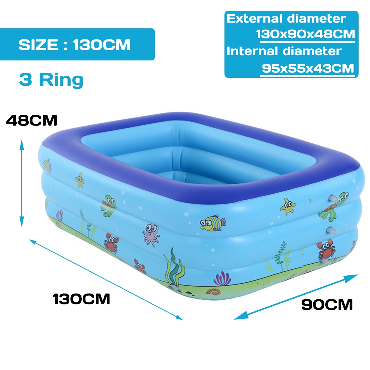 For 1-5 Persons Family 110/130/150CM 2Ring/3Ring Inflatable Swimming Pool Adults Kids Family Pool Bathing Tub Outdoor Indoor