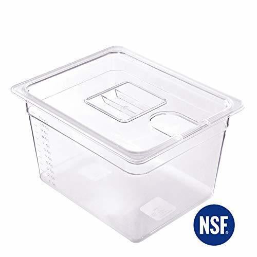 Anmade Sous Vide Container with Notched Lid 12 Quart Cooking Transparent Measure