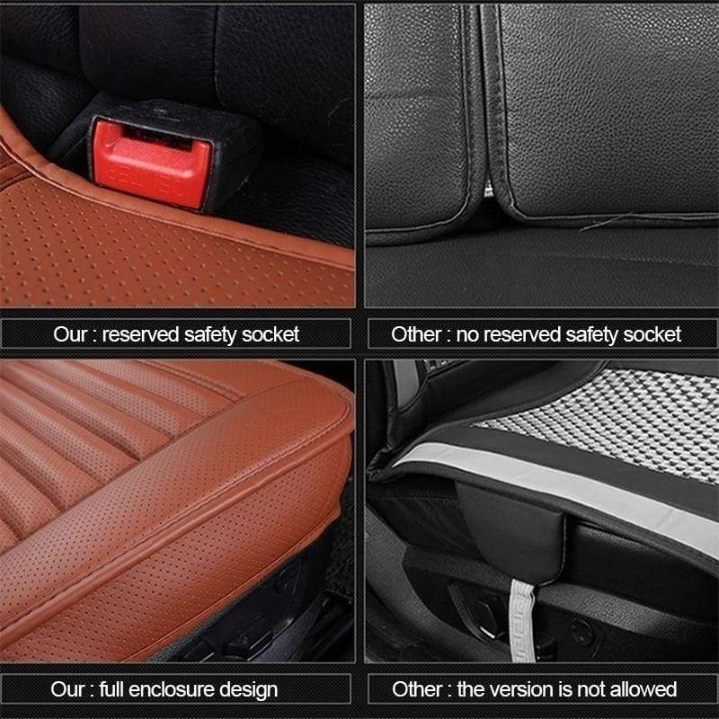 HWCLZY Universal 5D Car PU Leather Front Seat Rear Seat Seat Cover Pad Breathable Seat Pad Cushion(Beige/Black/Grey) Car Accessories