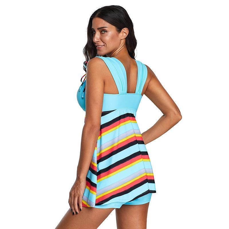 Holiday Spa Cover Belly Striped Two Piece Swimsuits