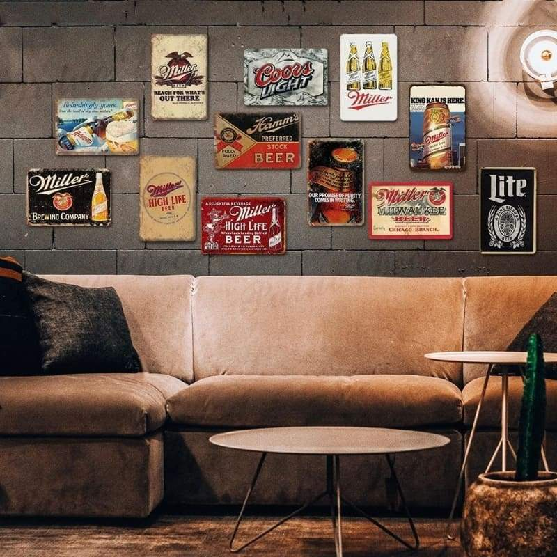 BEER Signs Vintage Tin Signs Retro Metal Signs Bar Pub Club Man Cave Wall Decor (8'¡Á12')