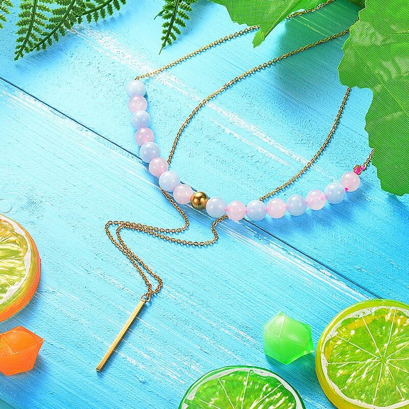 Baoyan Natural Stone Semi Precious Pink Quartz Beaded Layered Necklace for girls